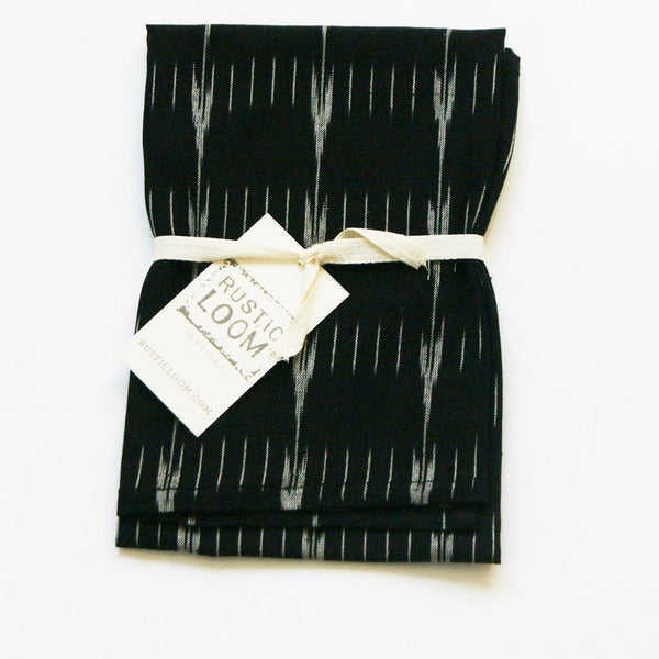 Black Grey Kitchen Tea Towel Handwoven Cotton Ikat Arrow Stripe