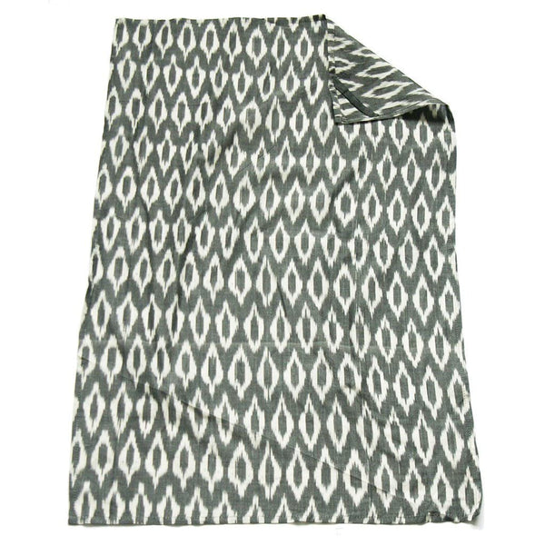 Grey Oval Kitchen Tea Towel Cotton Handwoven Ikat
