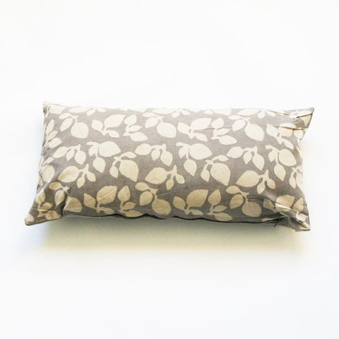 Grey Leaf Lumbar Cotton Blockprinted Pillow