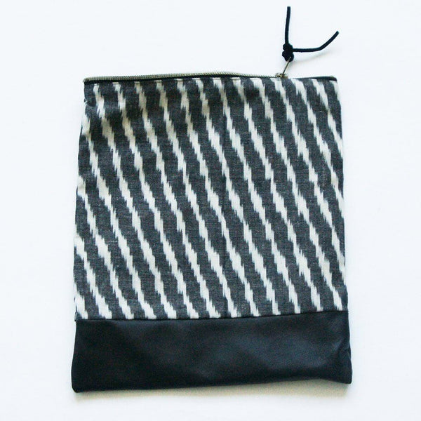 Fold Over Clutch Black Leather Ikat Zipper Pouch Evening Clutch