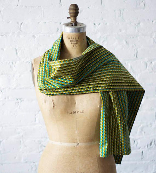 Chartreuse Green Aqua Stripe Geo Cotton Scarf