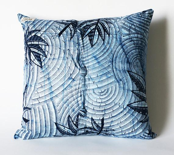 Blue and White Botanical Print Toss Pillow