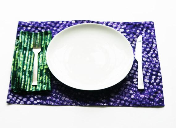 Cotton Cloth Placemat Purple Dot Hand Batik Block Printed Set of 4