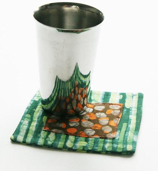 Cloth Coaster Set Green Stripe Orange Dot Batik Block