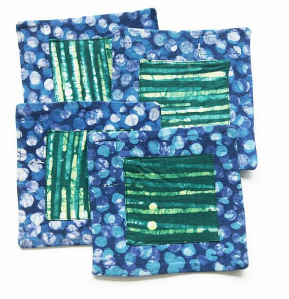 Blue Coaster Set Blue Dot Cotton Handprinted Batik