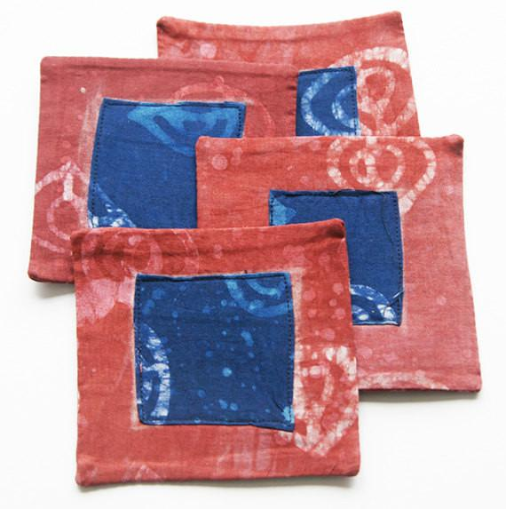 Batik Coaster Set Red and Blue Handprinted