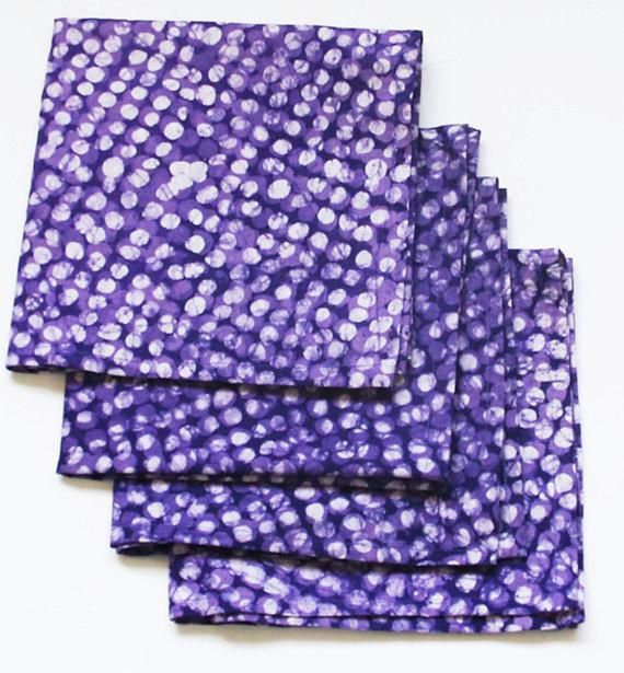 SALE Cotton Cloth Purple Table Napkins Batik Block Printed Set - Rustic Loom