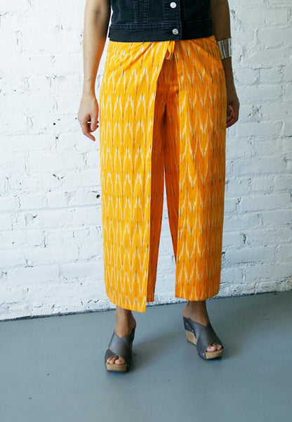 Boho Wide Leg Handwoven Marigold Cotton Chevron Ikat Wrap Pants