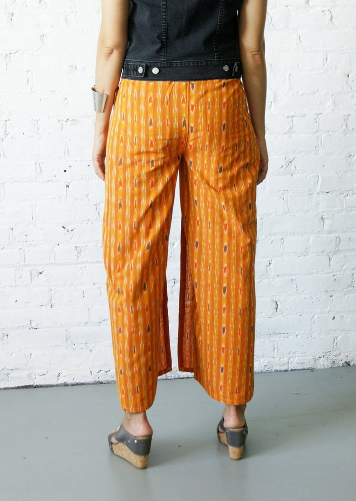Boho Wide Leg Pants- Gold Stripe Ikat Wrap Pants