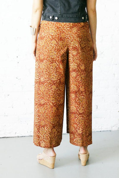 Flowy Pants Cotton Floral Vine Wrap Vegetable Dye Hand Block Printed