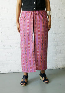 Boho Wide Wrap Leg Palazzo Cotton Handwoven Fuchsia Stripe Ikat Pants