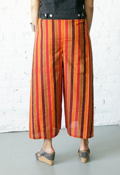 Palazzo Cotton Handwoven Orange Melon Multi Stripe Wrap Pants