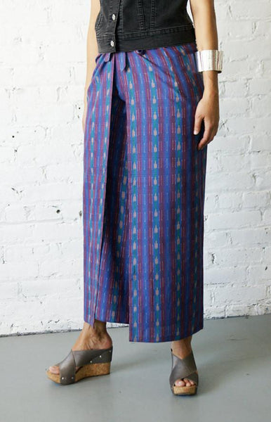 Palazzo Cotton Handwoven Cobalt Blue Stripe Ikat Wrap Pants