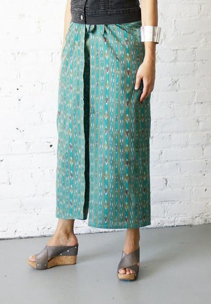 Palazzo Wide Leg Wrap Pants Cotton Handwoven Aqua Teal Ikat