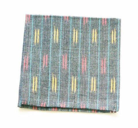 Handwoven Cotton Cocktail Napkin Grey Ikat Dash Stripe Set