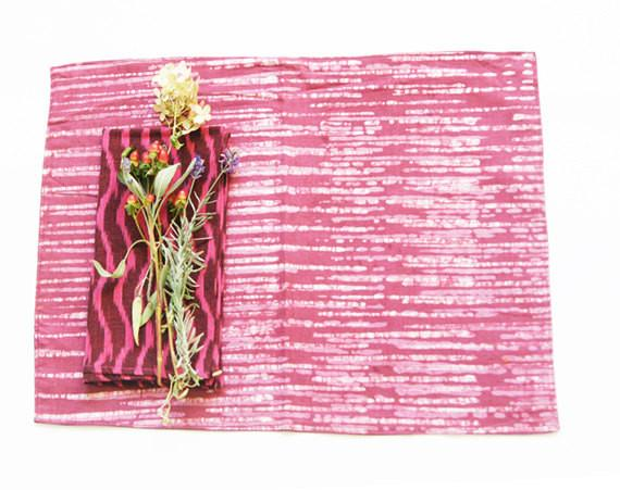SALE: Cotton Cloth Placemat Red Stripe Batik Block Print Set of 4