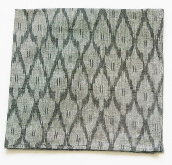 Grey Cotton Handwoven Cloth Table Napkin Ikat Ogee Pattern Set of 4