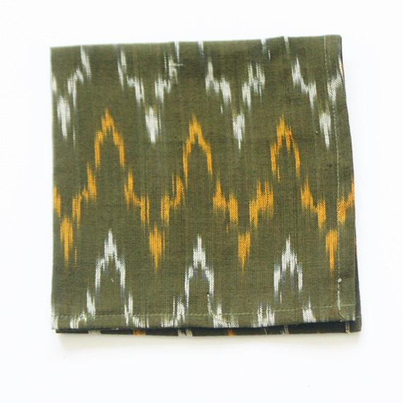 Olive Green Cotton Cloth Cocktail Napkin Set Ikat Zig Zag