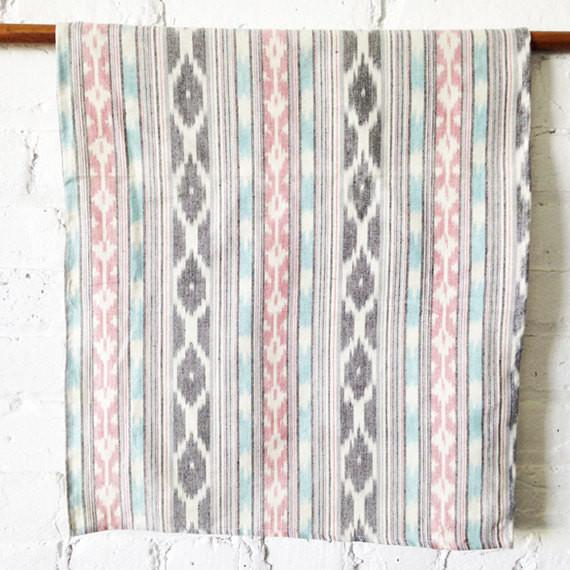 Aqua Pink Grey Stripe Woven Cotton Ikat Tea Towel