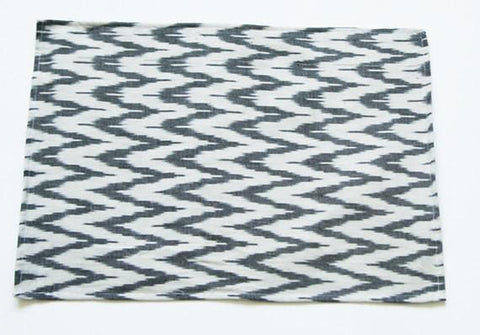 Gray Zig Zag Placemat Handwoven Cotton Ikat Chevron