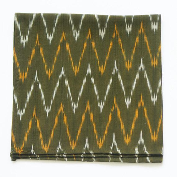 Dinner Napkin Handwoven Olive Green Ikat Zig Zag Set of 4