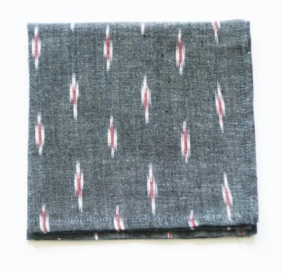 Handwoven Cotton Cocktail Napkin Grey Red Ikat Zig Dash Set