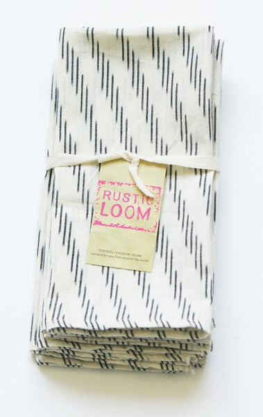 White Zebra Stripe Handwoven Cotton Ikat Table Napkin