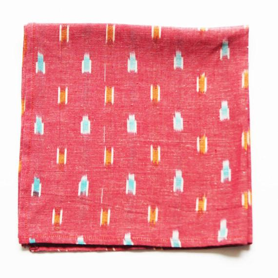 Red Dash Ikat Cloth Napkin Set of 4