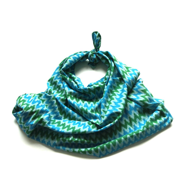 Baby Swaddle Wrap Handwoven Aqua Blue Green Ikat