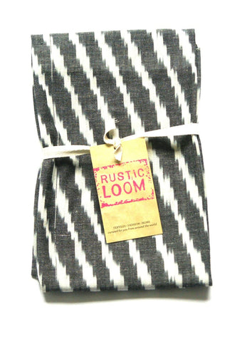 Grey Kitchen  Tea Towel - Cotton Handwoven Zebra Stripe Ikat