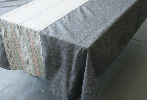 Grey Table Cloth - Aqua Pink Ikat Cotton Tablecloth - TABLECLOTH- Rustic Loom