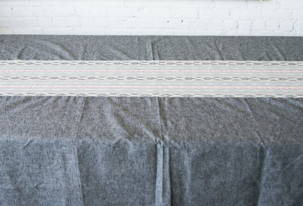 Grey Table Cloth- Aqua Pink Ikat Cotton Tablecloth - TABLECLOTH- Rustic Loom