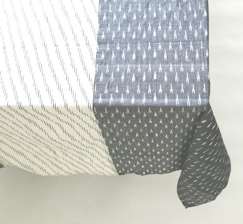 Grey White Stripe Cotton Tablecloth - Handwoven Ikat Cotton