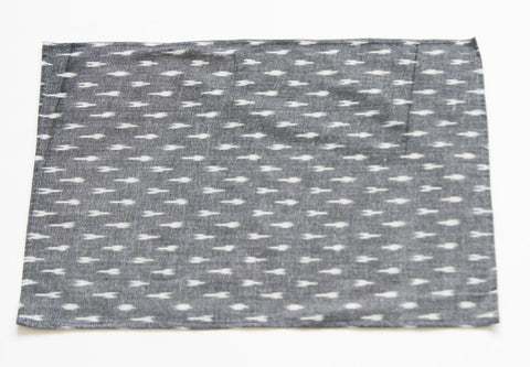 Gray Placemat Set Handwoven Grey White Ikat Dash Set of 4