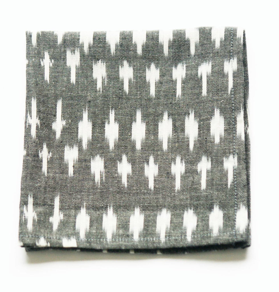 Grey Cloth Cocktail Napkin Handwoven Ikat Dot Set Of 4
