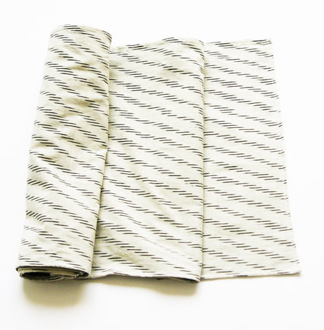 White Zebra Table Runner Handwoven Ikat