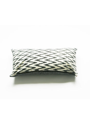 Grey Ikat Zig Zag Lumbar Toss Pillow Cover Chevron Handwoven