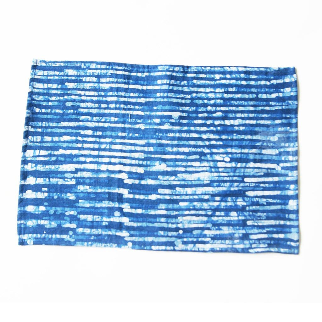 Linen Placemat Indigo Blue Stripe Hand Batik Block Printed Set of 4
