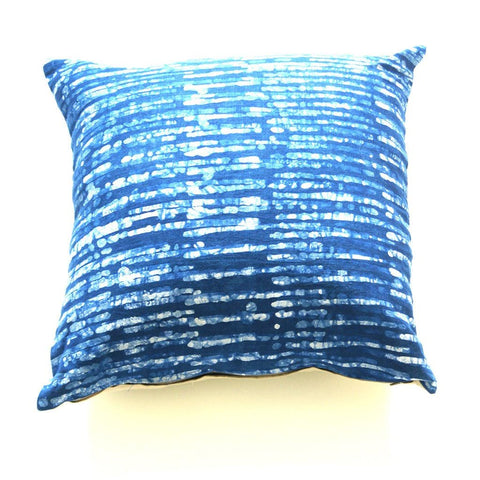Linen Pillow Cover Indigo Blue Stripe Batik Blockprinted