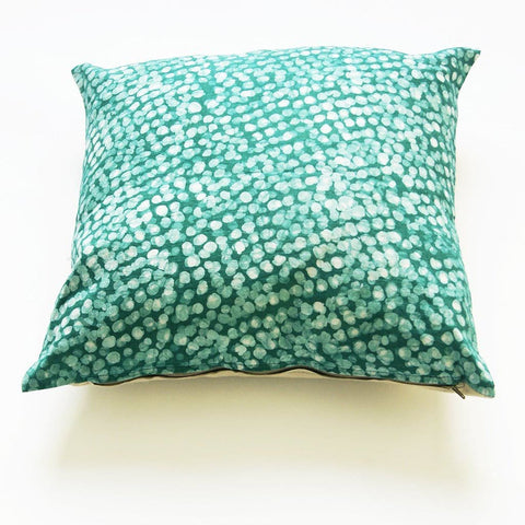 Linen Pillow Cover Emerald Green Dot Batik Blockprinted