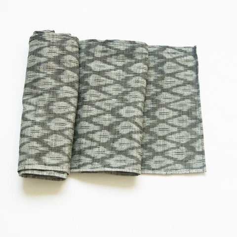 Grey Table Runner Ogee Pattern Handwoven Cotton Ikat