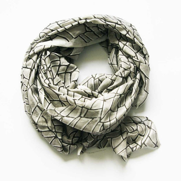 Large Silk Modal Scarf Hand Block Grey Print