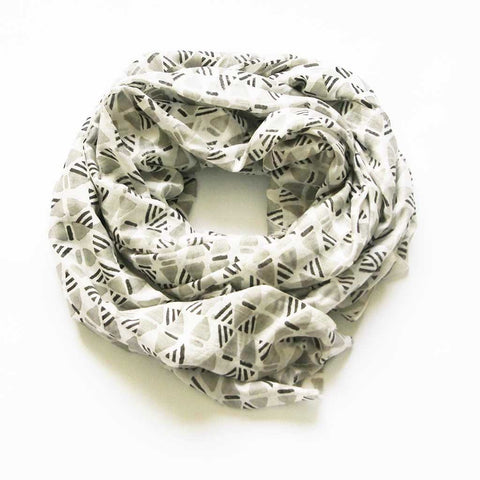 Natural White Grey Geometric Hand Block Print Silk Beach Wrap Sarong 44x86 Approx - Scarf - Rustic Loom