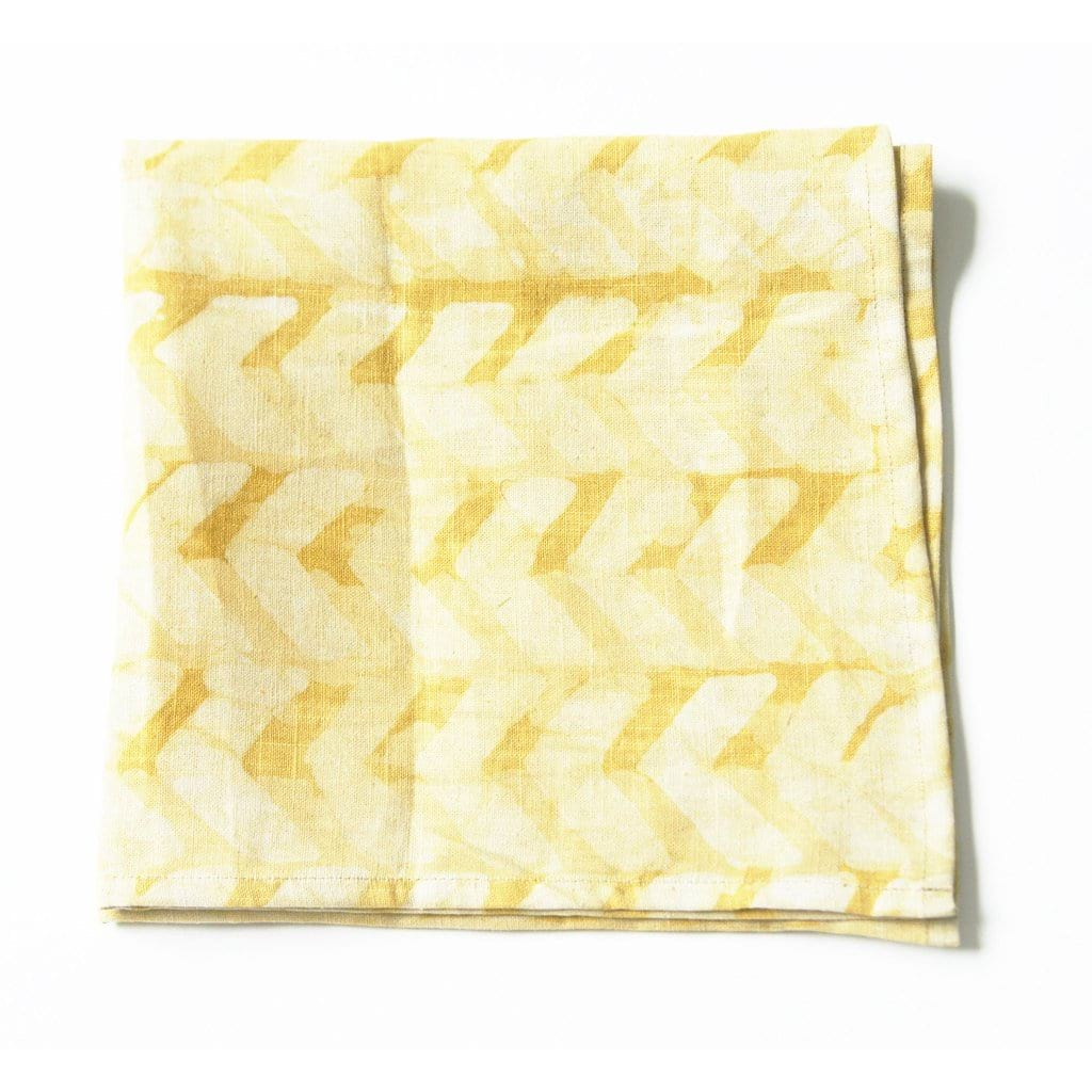 Geometric Chevron Linen Napkin Set Maize Gold Hand Batik Block Printed