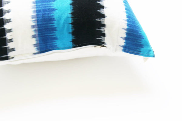 Square Toss Pillow Blue Ikat Wide Stripe Handwoven
