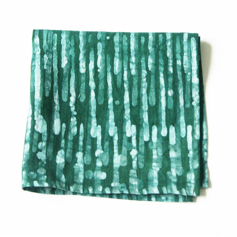 Emerald Green Linen Cloth Dinner Napkin Set  Thin Stripe Hand Batik Block Printed