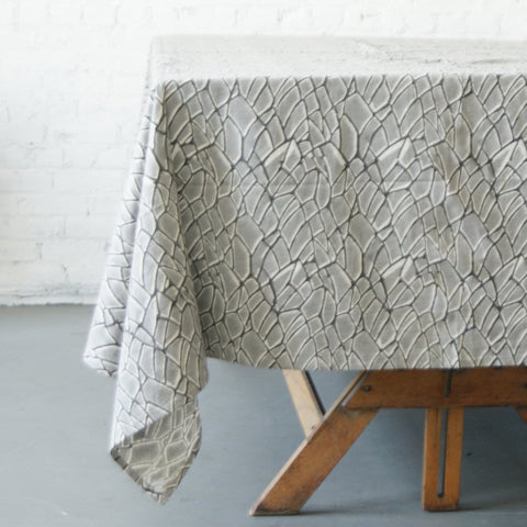Grey Natural White Cotton Branch Hand Block Printed 72x108 - Tablecloth - Rustic Loom