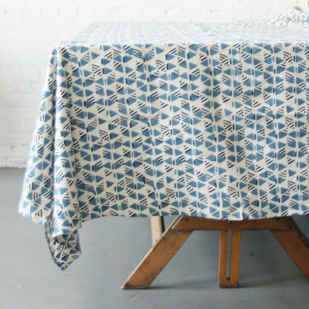 Indigo Blue Triangle Geometric Block Print Cotton 72x108 - Tablecloth - Rustic Loom