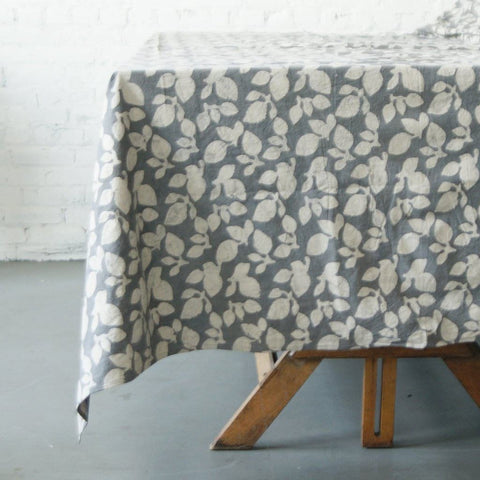 Grey Natural White Cotton Leaf Pattern Handprinted - Tablecloth - Rustic Loom