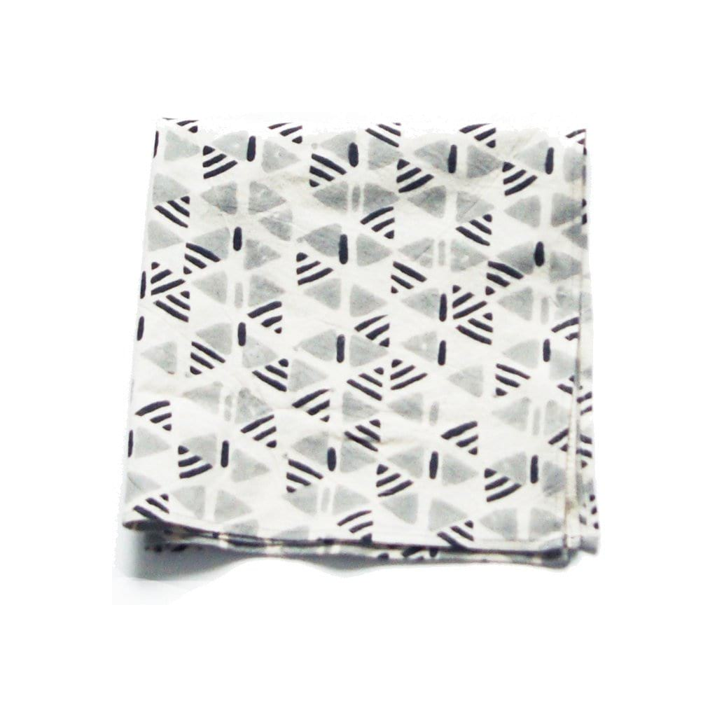 Cotton Hand Printed Dinner Napkins Grey Triangle Geometric Set of 4